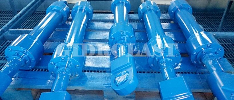 Стандартные цвета гидравлического оборудования на заводе - синяя и голубая